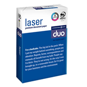 DUO Laser Office Letterhead Copying,Laser Printing Paper High Grade Ream Wrapped 90 gsm A4 210 x 297 2000 sheets white