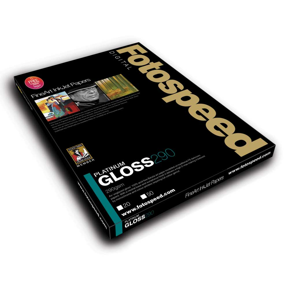 CLEARANCE DISCONTINUED Fotospeed Digital Fine Art Inkjet Paper PLATINUM Gloss - 290gsm A2 20sheets