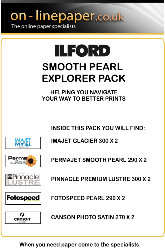 Online Paper Ilford Smooth Pearl Explorer Pack - A4 10 sheets