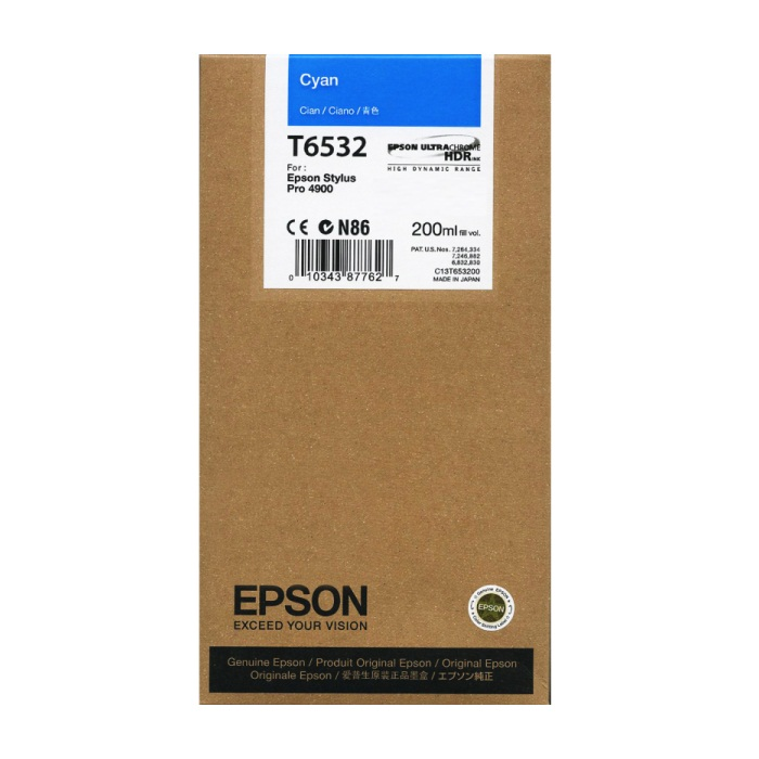Epson 4900 Utrachrome HDR Cyan Ink Cartridge 200ml