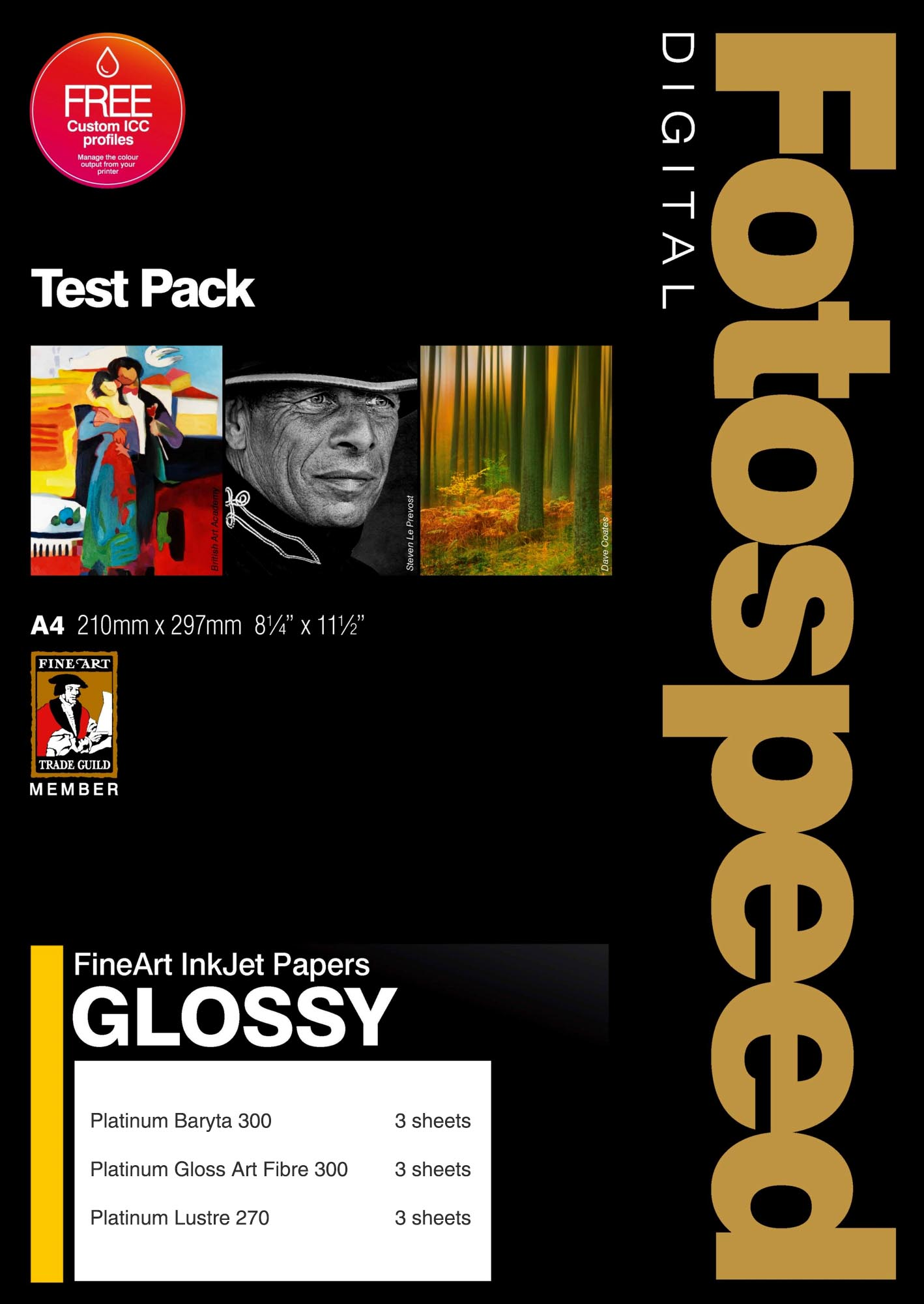 Fotospeed Digital Fine Art Inkjet Paper GLOSSY Test Pack - 12 Sheets A4