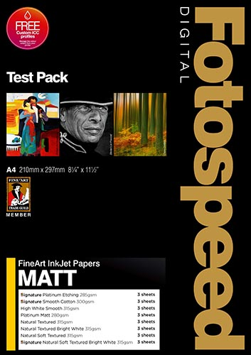 Fotospeed Digital Fine Art Inkjet Paper MATT Test Pack - 18 Sheets A4