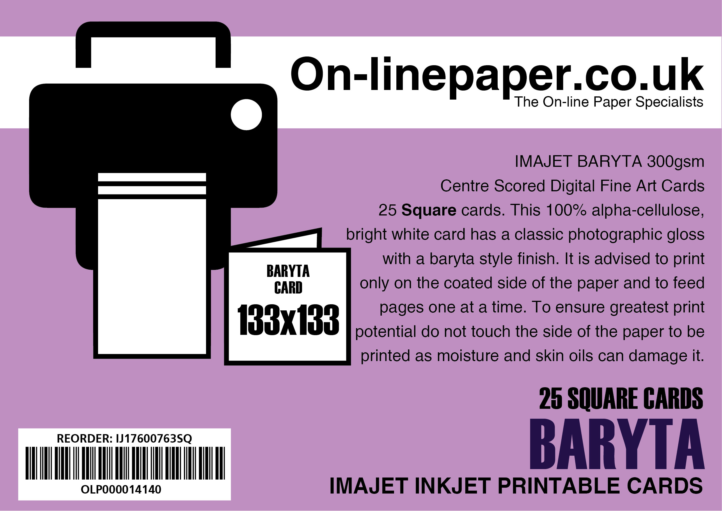 IMAJET BARYTA 300gsm Centre Scored Digital Fine Art Cards 25 x SQUARE 133x133