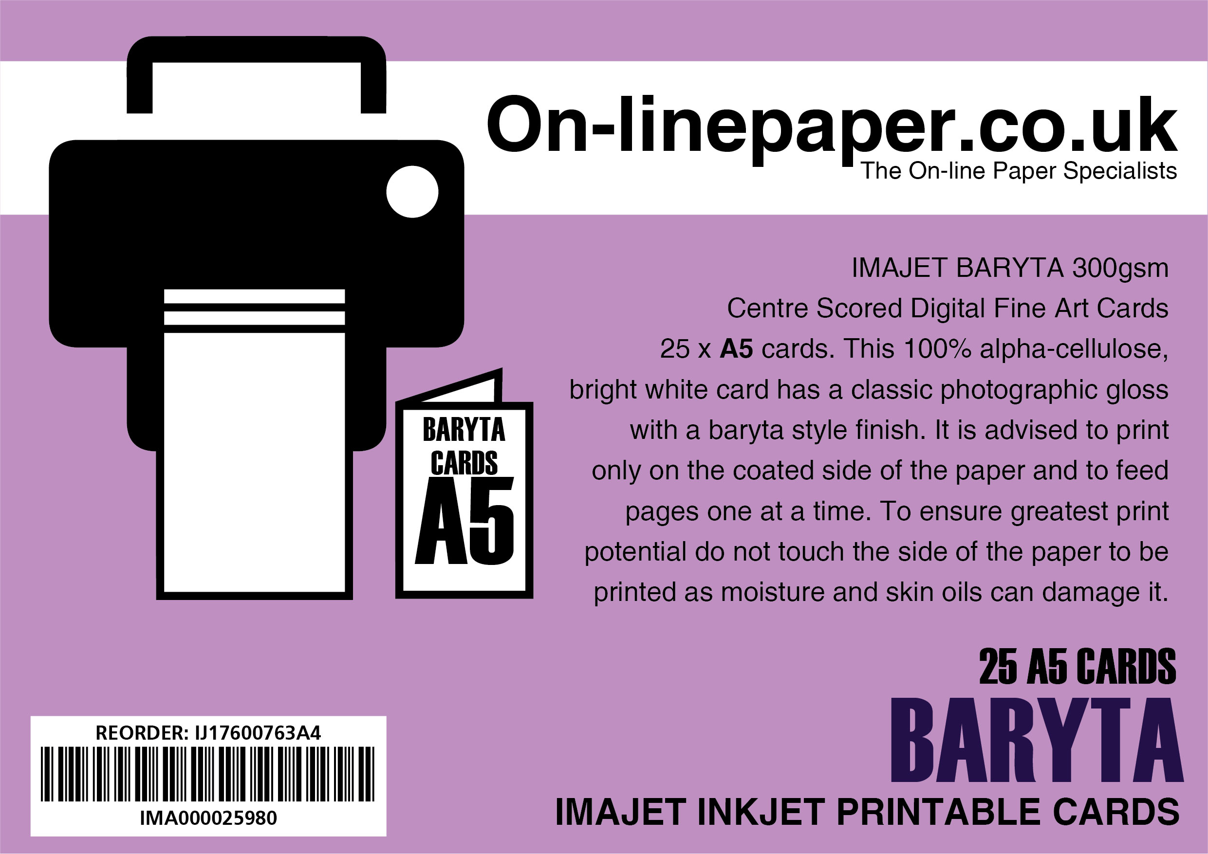IMAJET BARYTA 300gsm Centre Scored Digital Fine Art Cards 25 x A4 cards