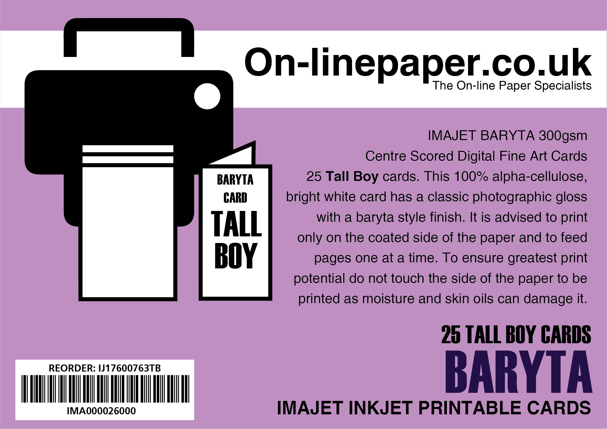 IMAJET BARYTA 300gsm Centre Scored Digital Fine Art Cards 25 x Tall Boy