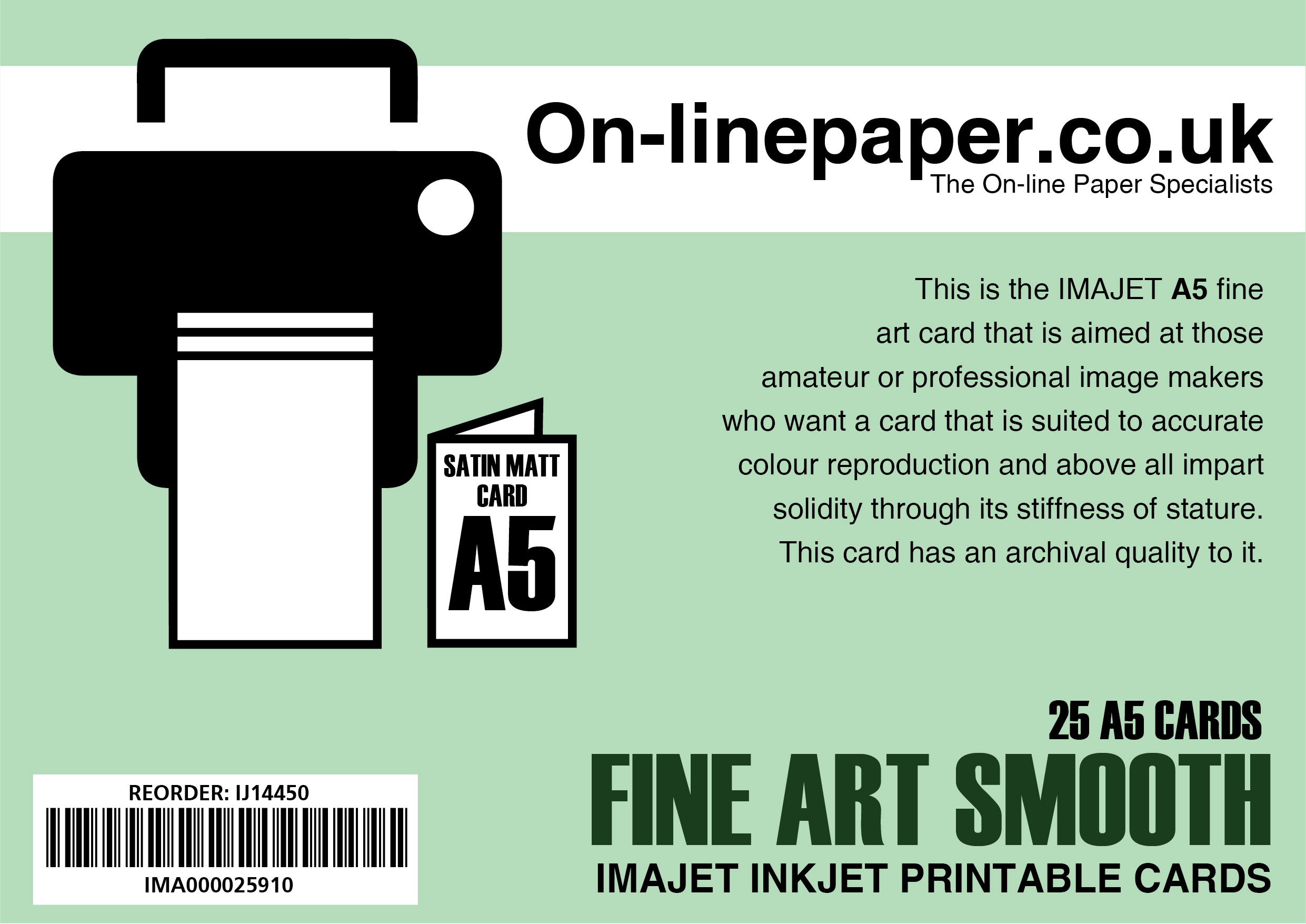 IMAJET Fine Art Greeting Cards 310gsm Centre Scored 25 x A4 cards --> A5