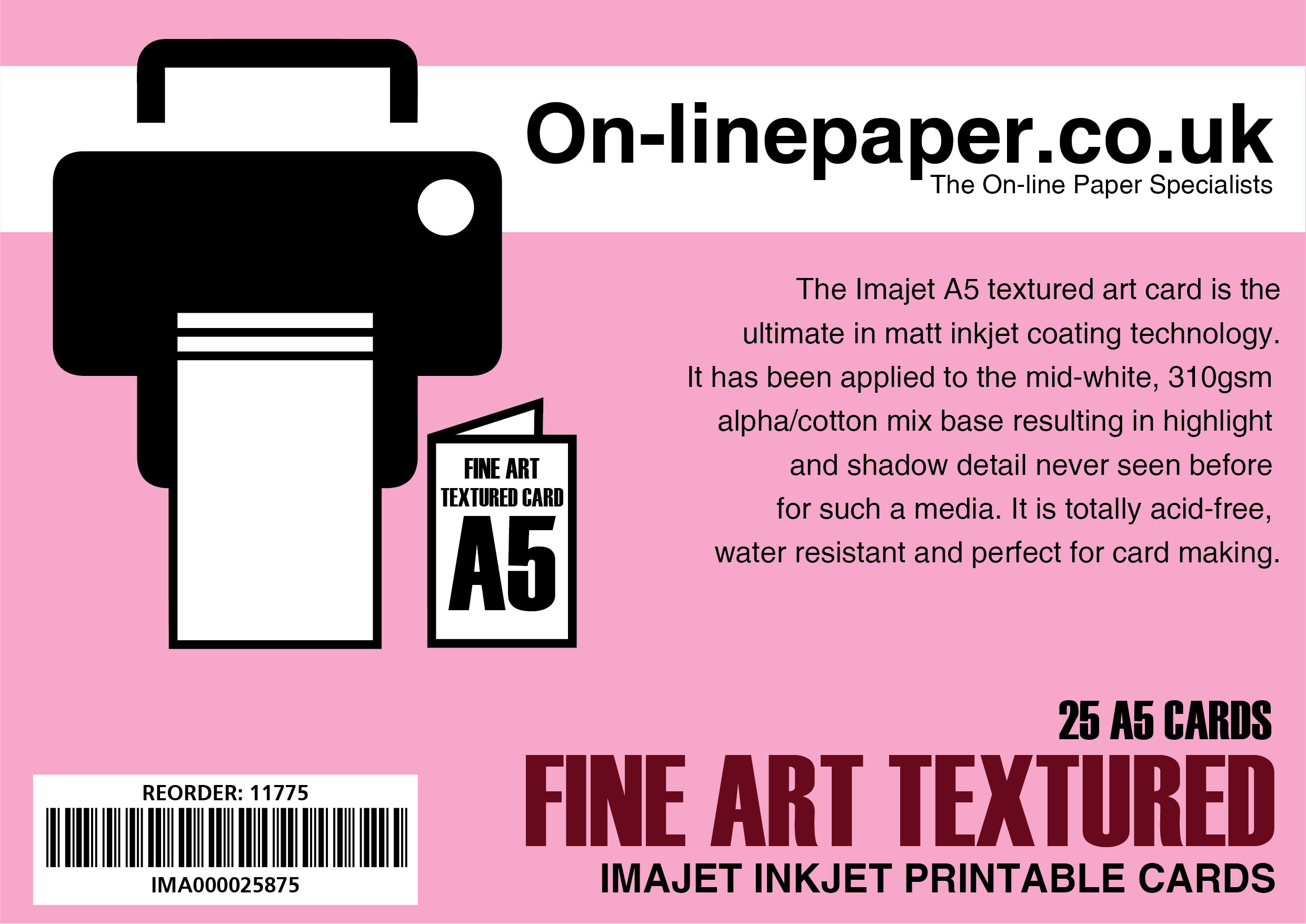 IMAJET Textured 310gsm Digital Fine SQUARE 135x135 mm