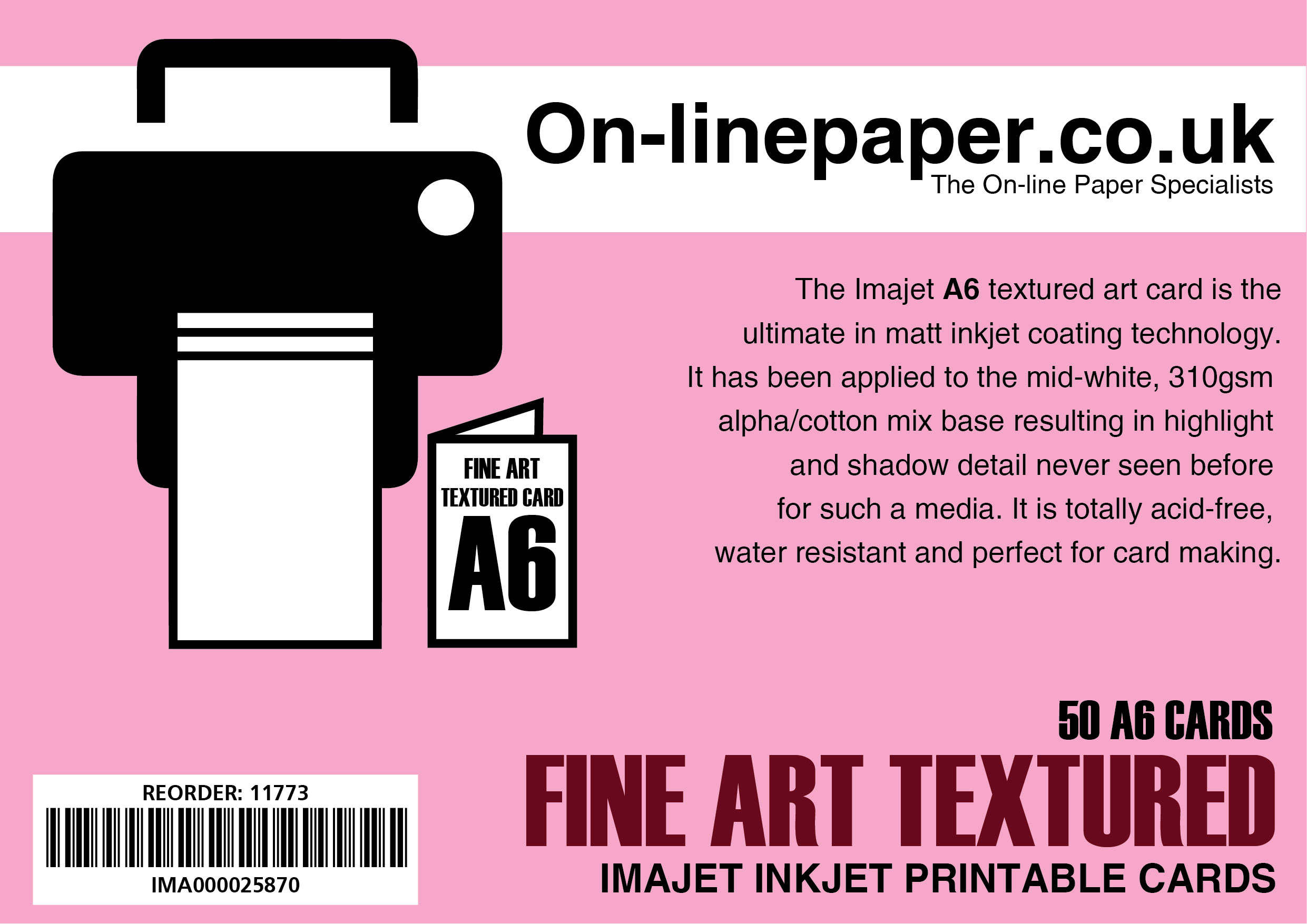IMAJET Textured 310gsm Digital Fine Art A5 --> A6 50 Centre Scored Cards