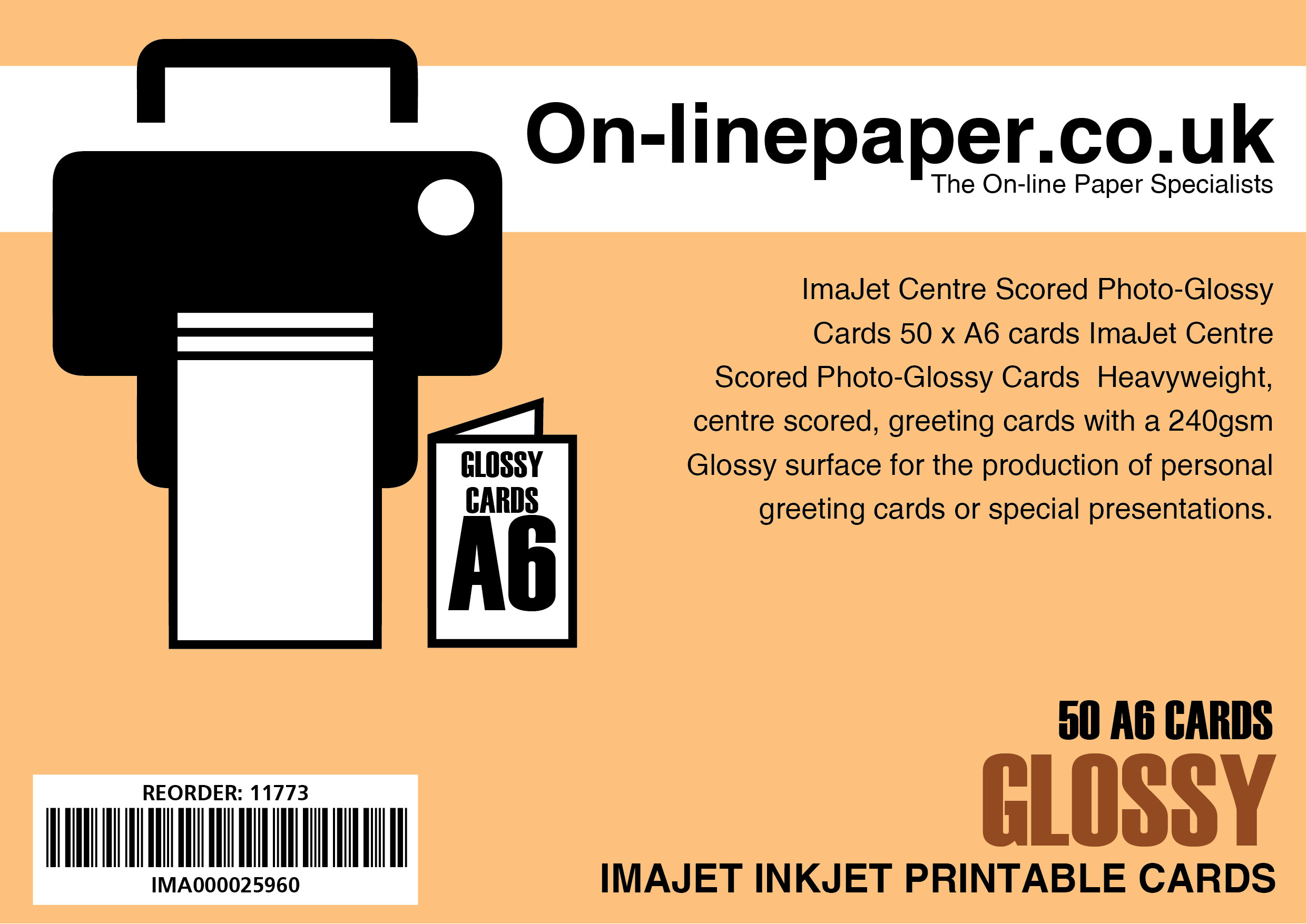 ImaJet Centre Scored Photo Gloss Cards 50 x A5 cards --> A6