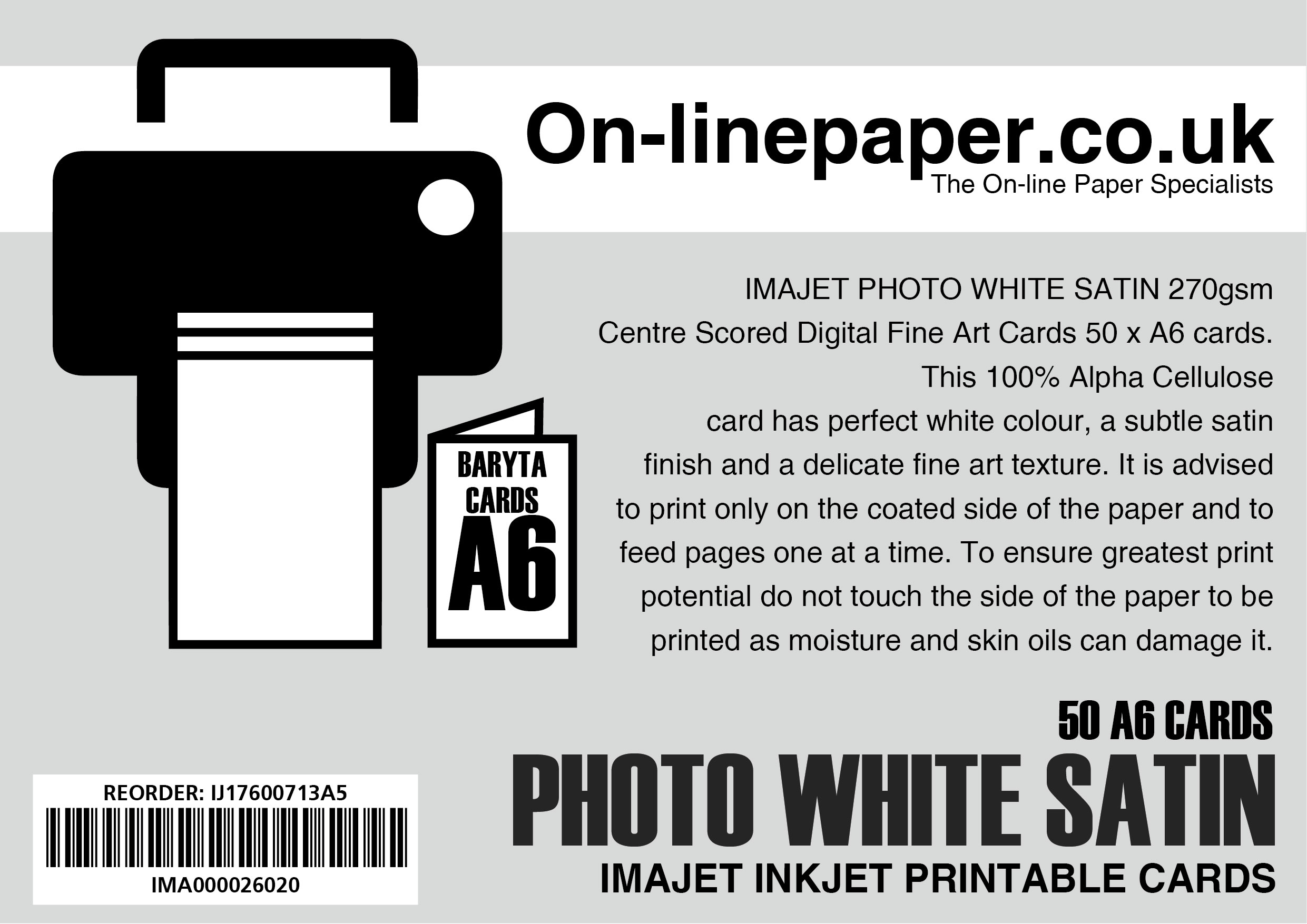 IMAJET PHOTO WHITE SATIN 270gsm Centre Scored Digital Fine Art Cards 50 x A5 cards --> A6