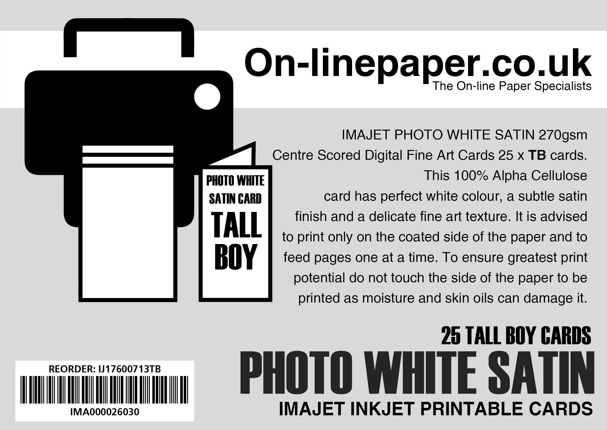 IMAJET PHOTO WHITE SATIN 270gsm Centre Scored Digital Fine Art Cards 25 x Tall Boy