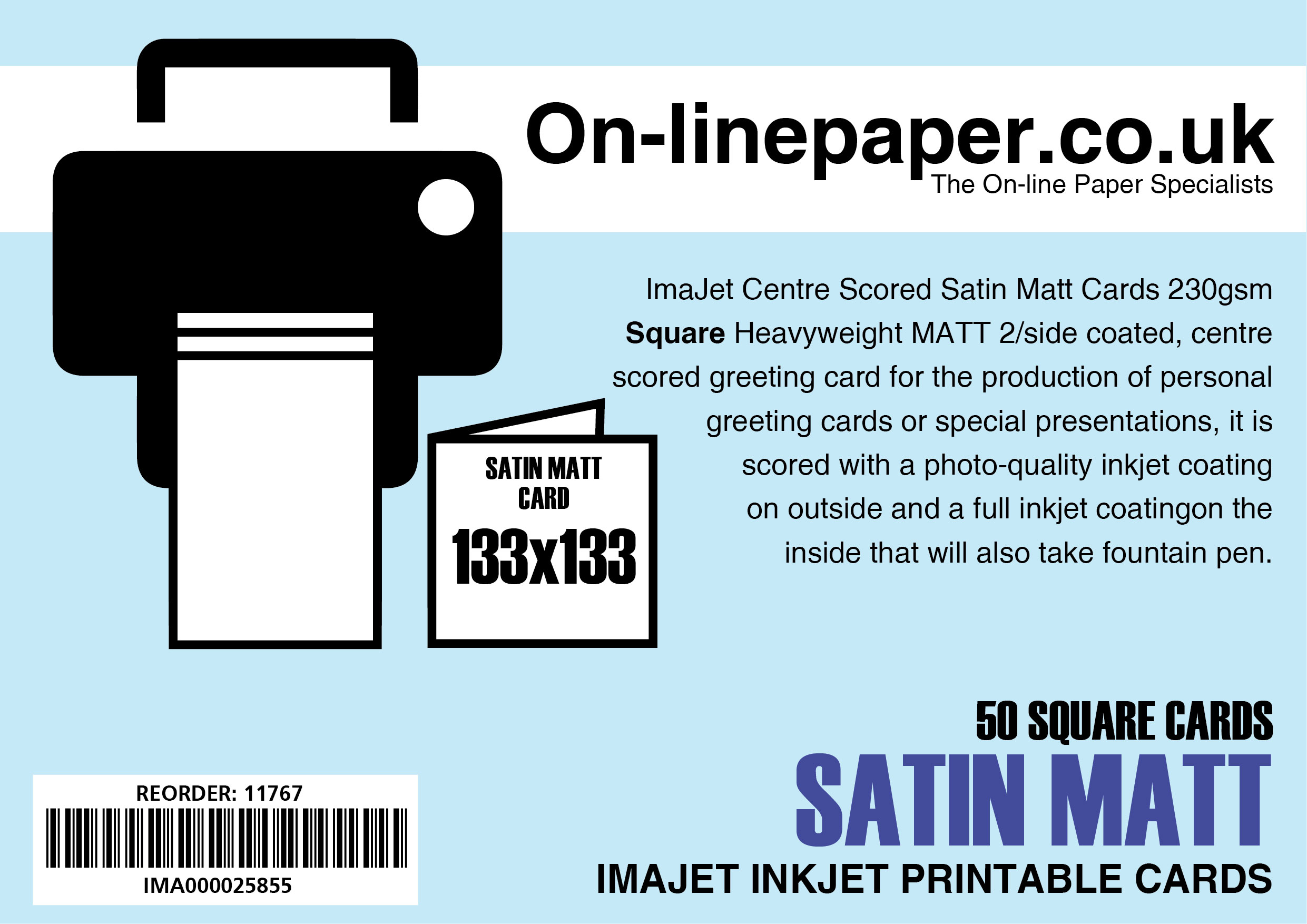 ImaJet Centre Scored Satin Matt Cards - Square 133mm x 133mm (when folded) 50 x Cards