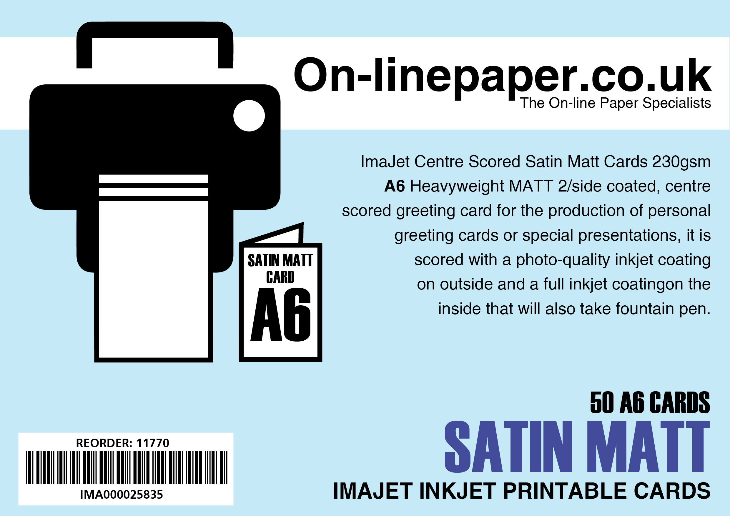 ImaJet Centre Scored SATIN-MATT Cards 230gsm 50 x A5 cards --> A6
