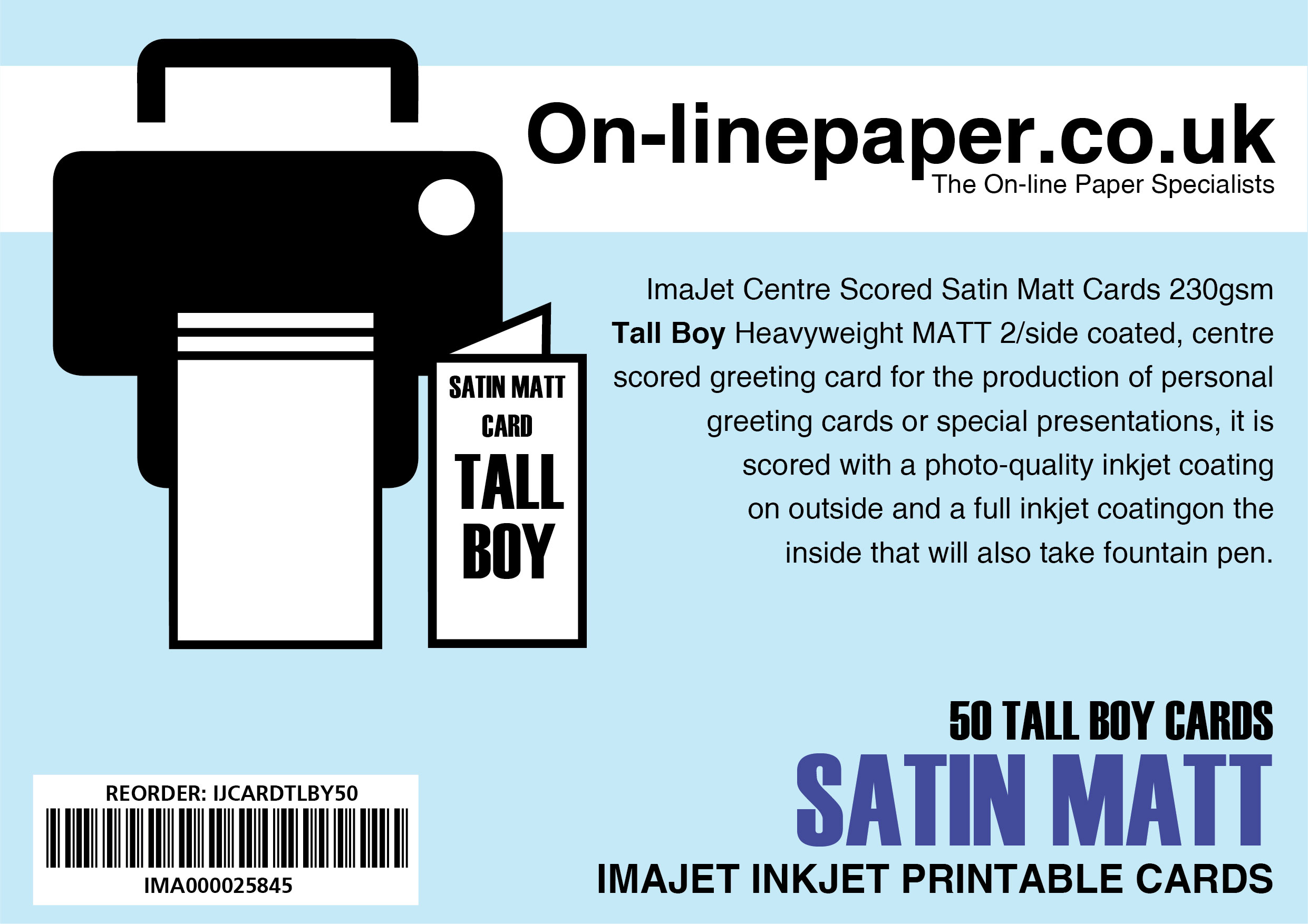ImaJet Centre Scored Satin Matt Tallboy 105mm x 210mm 50 x Cards - No Envelopes