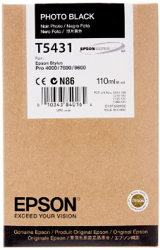 Epson Stylus Pro 4000/7600/9600 110ml Photo Black ink cartridge C13T543100